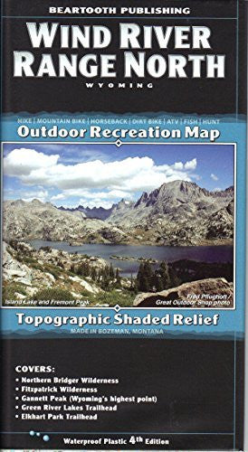 Wind River Range North, Wyoming Topographic Shaded Relief Outdoor Recreation Map