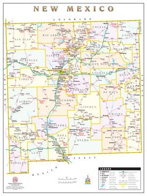 New Mexico Counties and Roads Large Wall Map Dry Erase Ready-to-Hang