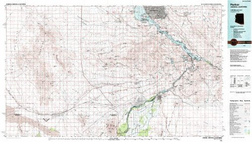 Parker Arizona - California 1:100,000-scale USGS Topographic Map: 30 X 60 Minute Series (1985)