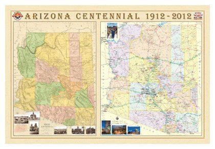 Arizona Centennial Wall Map Ultra Matte Laminated