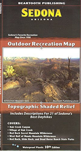 Sedona Outdoor Recreation Map Topographic Shaded Relief