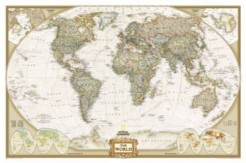 World Executive Wall Map Laminated (World Maps) (Reference - World) by National Geographic Maps [2009]