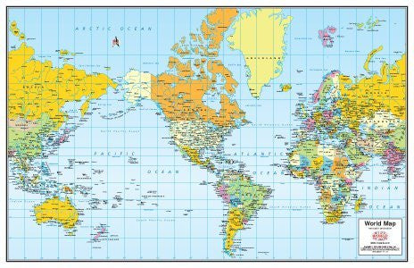 Small Colorful Political World Map Laminated and Mounted - (Mercator projection)