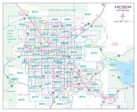 Las Vegas Arterial & Collector ZIP Code Wall Map Dry Erase Laminated (Metro Maps)
