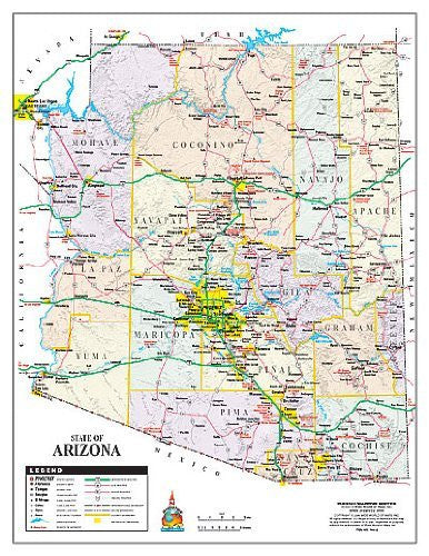 State of Arizona Color Notebook Map Gloss Laminated - 10 Count
