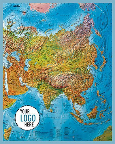 us topo - Asia, Phy, 34x27, - Wide World Maps & MORE! - Office Product - Gabelli US - Wide World Maps & MORE!