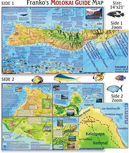 Franko Maps Molokai Guide Map for Scuba Divers and Snorkelers