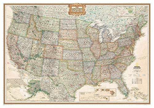 us topo - National Geographic - United States Executive Map, Enlarged & Laminated Poster by National Geographic 69 x 48in - Wide World Maps & MORE! - Furniture - Wide World Maps & MORE! - Wide World Maps & MORE!