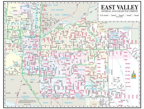 East Valley Arterial and Collector Streets Notebook Map Gloss Laminated - 10 Count