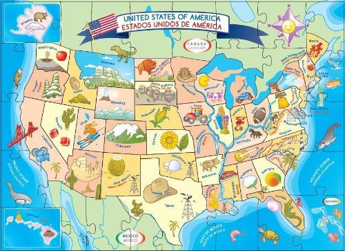 us topo - Ingenio USA Map Floor Puzzle - Wide World Maps & MORE! - Toy - Smart Play - Wide World Maps & MORE!