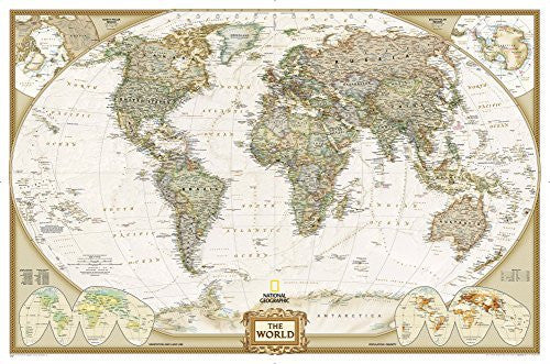 National Geographic - World Executive Map, Enlarged & Laminated Poster