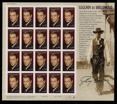 Gary Cooper: Legends of Hollywood, Full Sheet of 20 x 44-Cent Postage Stamps, USA 2009, Scott 4421