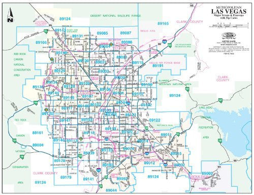 Metropolitan Las Vegas Major Streets and Freeways with ZIP Codes - 50 Count