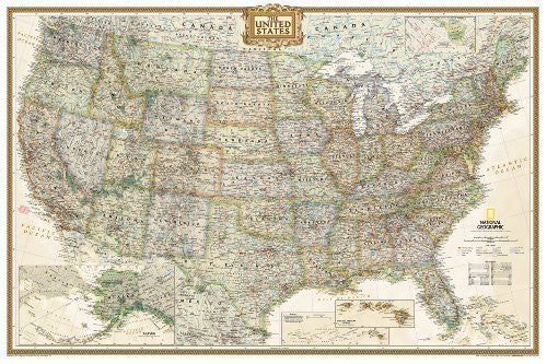 United States Executive, poster size, tubed Wall Maps U.S. by National Geographic Maps published by NATIONAL GEOGRAPHIC MAPS DIVISION (2012)