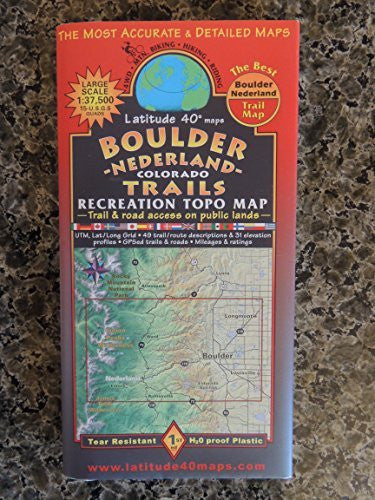Boulder Nederland Colorado Trails Recreational Topo Map - Wide World Maps & MORE! - Sports - Unknown - Wide World Maps & MORE!