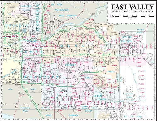 East Valley Arterial and Collector Streets Desk Map Gloss Laminated