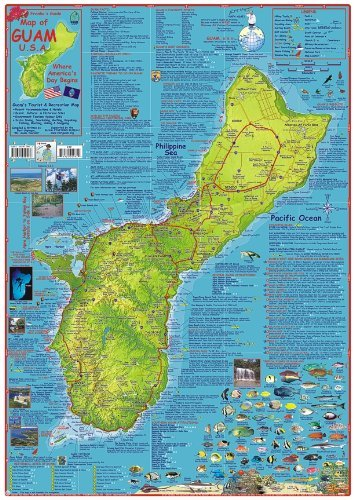 Guam Dive Map Laminated Poster By Franko Maps - Wide World Maps & MORE! - Map - Franko Maps - Wide World Maps & MORE!