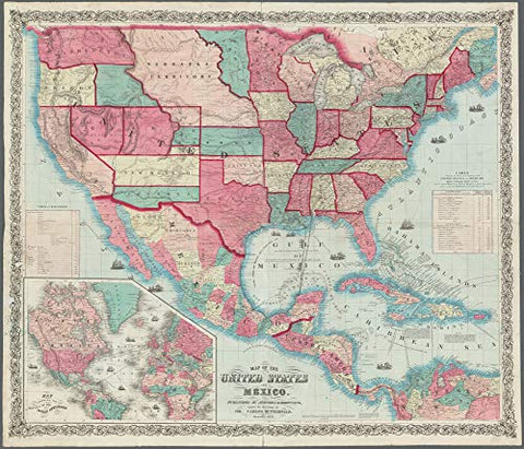 1859 Map of the United States and Mexico Satin Laminated - Wide World Maps & MORE! - Map - Wide World Maps & MORE! - Wide World Maps & MORE!