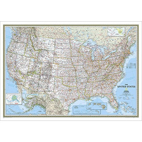 United States of America Classic Political Enlarged Wall Map Dry Erase Laminated - Wide World Maps & MORE! - Map - National Geographic Maps - Wide World Maps & MORE!