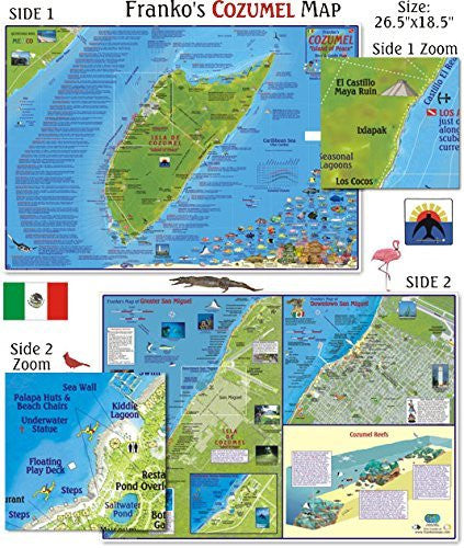 us topo - Franko Maps Cozumel Dive Map for Scuba Divers and Snorkelers - Wide World Maps & MORE! - Sports - 699 - Wide World Maps & MORE!