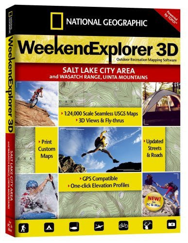 National Geographic TOPO! Weekend Explorer 3D Salt Lake City Area/Wasatch Range/Uinta Mountains Map CD-ROM (Windows)
