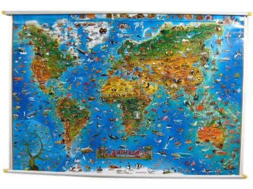 us topo - Animals Of The World Map - Wide World Maps & MORE! - Book - ROUND WORLD PRODUCTS - Wide World Maps & MORE!