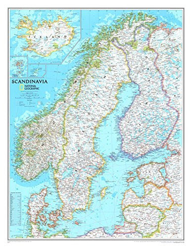 Map of Scandinavia Poster 23 x 30in