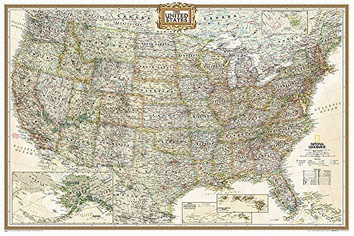 us topo - United States Executive Poster Size Wall Map (tubed) (National Geographic Reference Map) - Wide World Maps & MORE! - Book - Wide World Maps & MORE! - Wide World Maps & MORE!