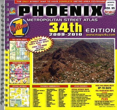 us topo - Phoenix Metropolitan Street Atlas 2009-2010 Edition (Yellow1) - Wide World Maps & MORE! - Book - Wide World Maps & MORE! - Wide World Maps & MORE!