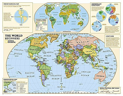 Kids Beginners World Education: Grades K-3 [Laminated] (National Geographic Reference Map)