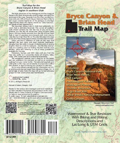 Bryce Canyon & Brian Head, Utah Trail Map