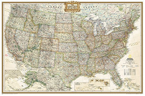 National Geographic - United States Executive, poster size Map Laminated Poster by National Geographic 36 x 24in