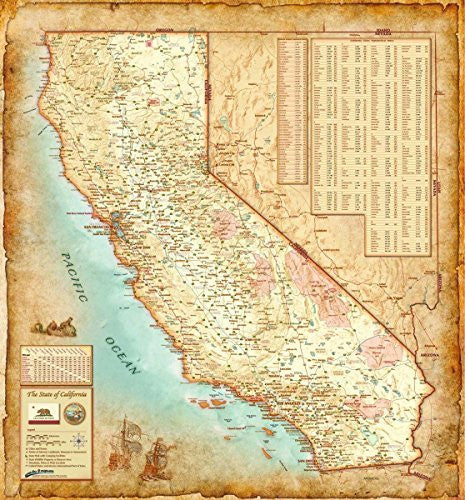 "Antique Style CALIFORNIA Wall Map *Laminated* LARGE 48""x52"" Beautiful"