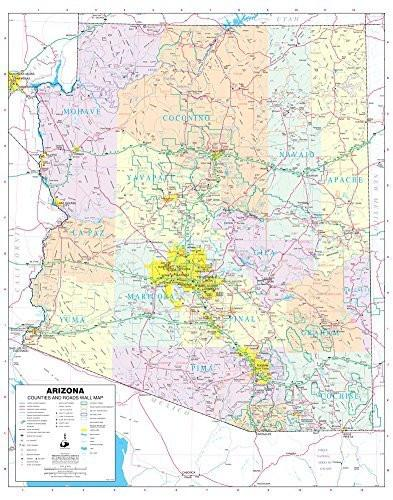 Arizona Counties and Roads Small Wall Map, Paper/Non-Laminated - Wide World Maps & MORE! - Map - Wide World Maps & MORE! - Wide World Maps & MORE!