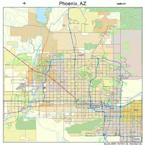 us topo - Street & Road Map of Phoenix, Arizona AZ - Printed poster size wall atlas of your home town - Wide World Maps & MORE! - Sports - Image Trader - Wide World Maps & MORE!