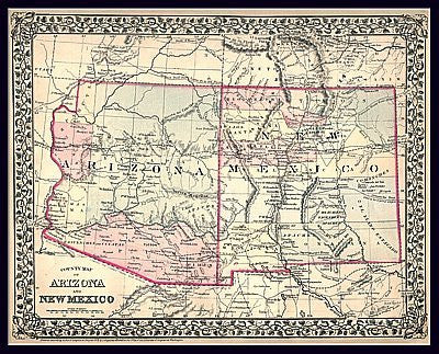 New Mexico On World Map.1879 County Map Of Arizona And New Mexico Paper Non Laminated Wide
