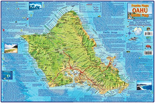 Oahu Hawaii Adventure Guide Map Laminated Poster by Franko Maps