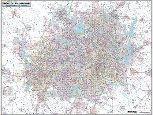 Dallas - Fort Worth Metroplex Detailed Region Large Wall Map w/ZIP Codes, Laminated - Wide World Maps & MORE! - Map - Metro Maps - Wide World Maps & MORE!