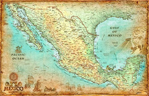 "Antique Style MEXICO Wall Map *Laminated* LARGE 48""x74"" Beautiful"