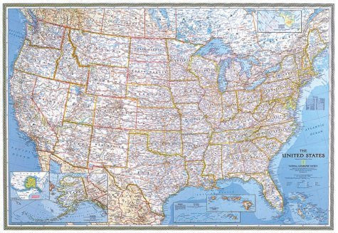 USA Classic Political Map Laminated