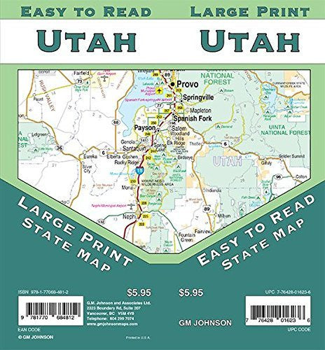 us topo - Utah Large Print, Utah Regional Map - Wide World Maps & MORE! - Book - Wide World Maps & MORE! - Wide World Maps & MORE!