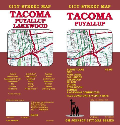 us topo - Tacoma/Puyallup City Street Map - Wide World Maps & MORE! - Book - Wide World Maps & MORE! - Wide World Maps & MORE!