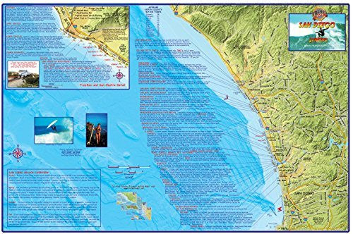 San Diego Surf Map Laminated Surfing Guide Poster by Franko Maps