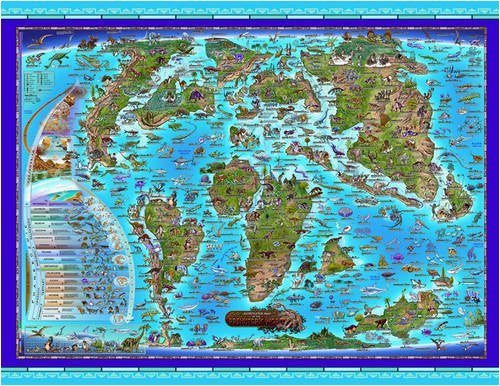 Prehistoric World Children's Illustrated Wall Map (Children's Maps)