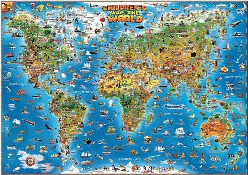 Dino's Illustrated World and USA Map Set
