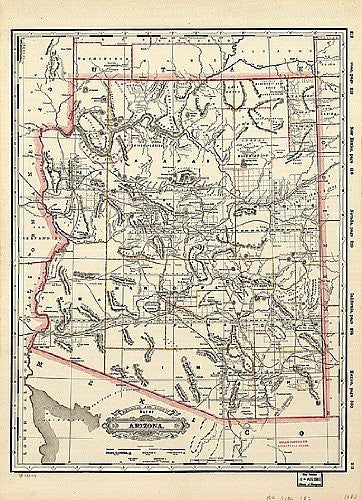 1887 Railroad & County Map of Arizona Large