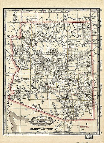 1887 Railroad & County Map of Arizona Jumbo-Size Gloss Laminated - Wide World Maps & MORE! - Map - Wide World Maps & MORE! - Wide World Maps & MORE!