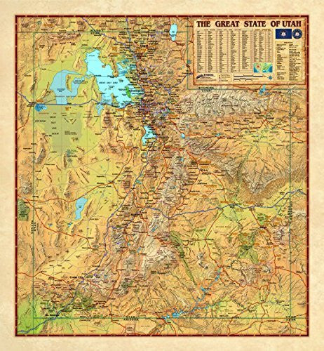 "Decorative UTAH Wall Map *Laminated* LARGE 48""x52"" Beautiful"