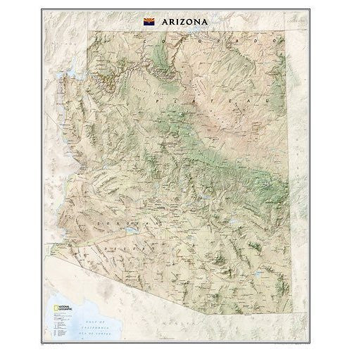 us topo - Arizona State Wall Map Material: Laminated - Wide World Maps & MORE! - Office Product - National Geographic Maps - Wide World Maps & MORE!