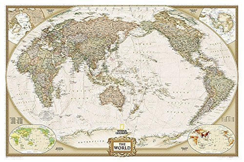 World Executive, Pacific Centered [Laminated] (National Geographic Reference Map)